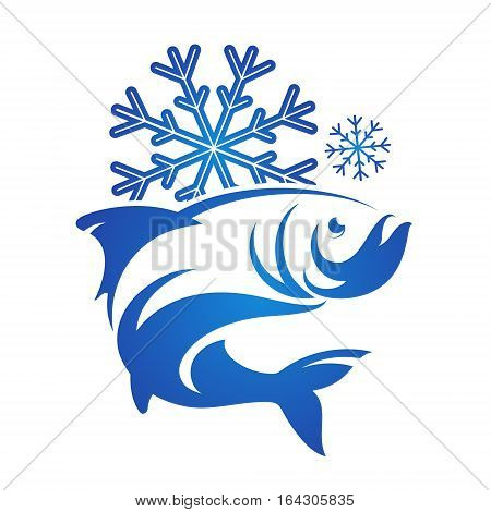Frozen fish symbol for vector silhouette design