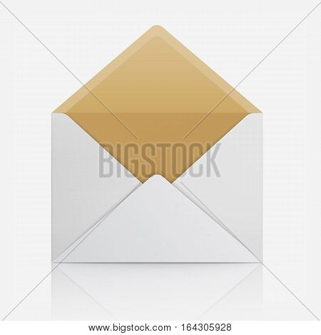 Blank template of paper envelope. Vector mockup open and empty envelope for letter. Symbol of message, post mail, email or business document. Icon isolated on white background.