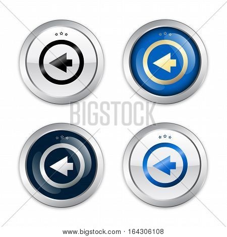 click back seals or icons with arrow symbol. Glossy silver seals or buttons.