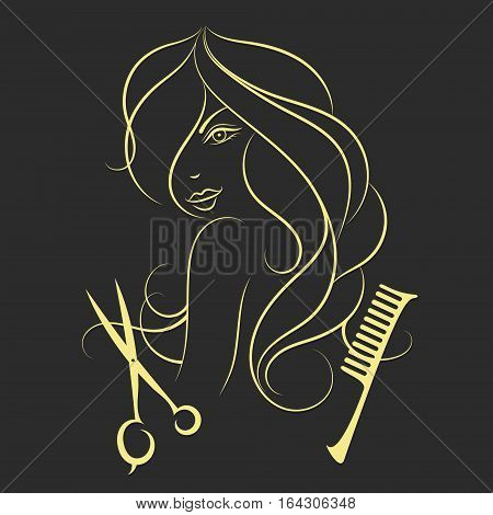 Girl with long hair beauty salon scissors and comb