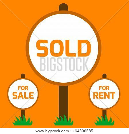 Sold sign, For sale sign, For rent sign. Vector illustration sign housing sales. Sold Home For Sale Real Estate Sign on orange background.