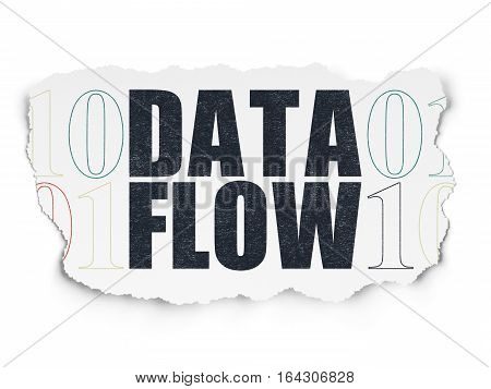 Data concept: Painted black text Data Flow on Torn Paper background with  Binary Code