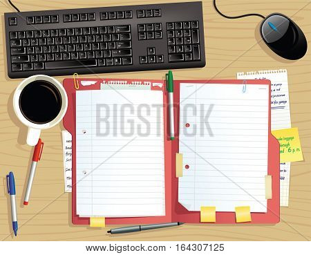 An image of a typical desk top and paper folder from above. Plenty of blank space for your own message.