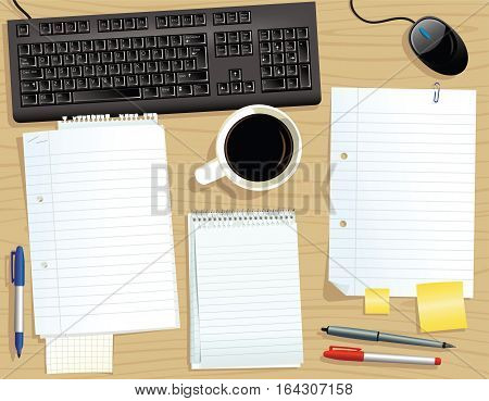 An image of an office desk with various papers on it. Papers are blank for your own message.