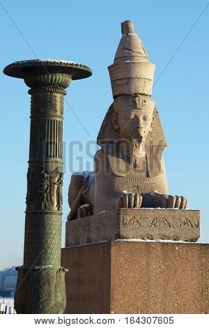 07.01.2017.Russia.Saint-Petersburg.The monument was purchased and brought out of Egypt in 1830.The age of the Sphinx-3.5 thousand years.