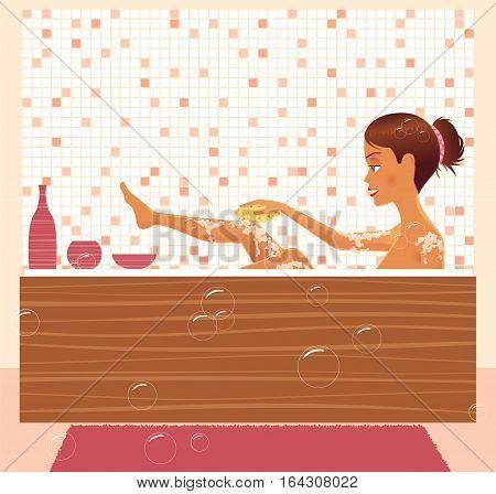 An image of a young woman enjoying a bath.