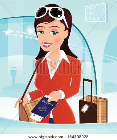 A young woman checking in at the airport desk.