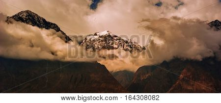 scenic alpine landscape with and mountain ranges. natural mountain background