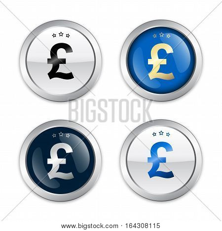 Profit seals or icons with pound sterling symbol. Glossy silver seals or buttons.