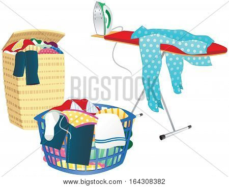 An illustration of a typical ironing board, laundry hamper and laundry basket.