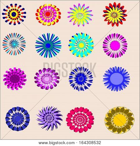 set of sixteen objects painted colors with lots of mauve petals, blue, red and yellow