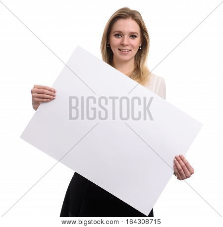 Business Woman Showing A Blank Paper Sheet