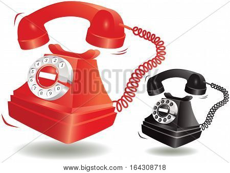 An illustration of two old fashioned rotary style telephones ringing.