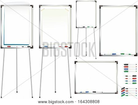 An illustration of various wall mounted and free standing office white boards. Plenty of blank space for your own message.