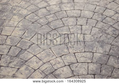 Surface cobbled streets, old stone top view. Surface pedestrian pattern Background design illustration