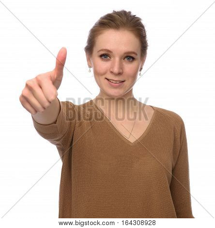 Young Pretty Woman Gesture Her Thumbs Up