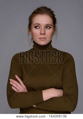 Serious Pretty Woman Looking Sideways