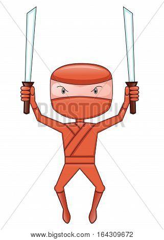 Ninja with Double Sword Cartoon Character. Vector Illustration.