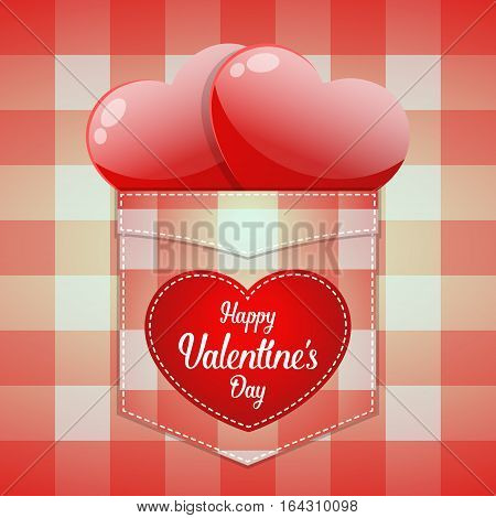 Glossy Red Heart In Pocket With Happy Valentine's Day Word