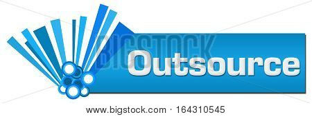 Outsource text written over blue abstract background.
