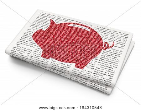 Money concept: Pixelated red Money Box icon on Newspaper background, 3D rendering