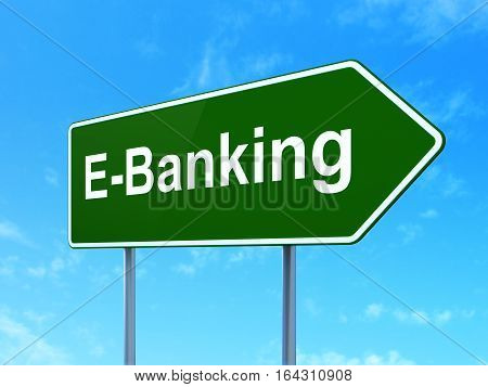 Money concept: E-Banking on green road highway sign, clear blue sky background, 3D rendering