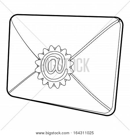 Envelope with email sign seal icon. Isometric 3d illustration of envelope with email sign seal vector icon for web