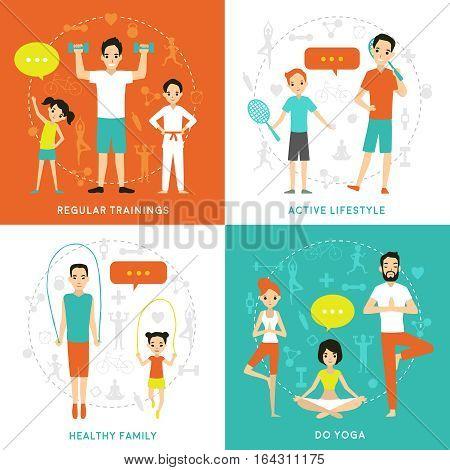Healthy family flat concept with parents children involving in sport physical active lifestyle vector illustration