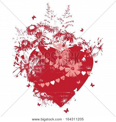 vector illustration with hearts flowers and butterflies in red pink and white colors