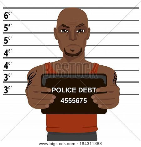african american criminal with tattoos holding a mugshot