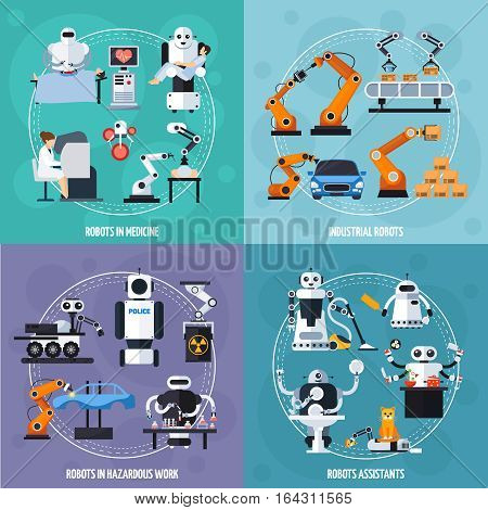 Robots concept icons set with industrial robots symbols flat isolated vector illustration