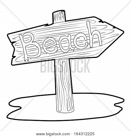 Beach wooden direction sign icon. Isometric 3d illustration of beach wooden direction sign vector icon for web