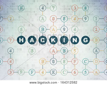 Security concept: Painted blue text Hacking on Digital Data Paper background with Hexadecimal Code