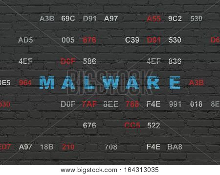 Safety concept: Painted blue text Malware on Black Brick wall background with Hexadecimal Code