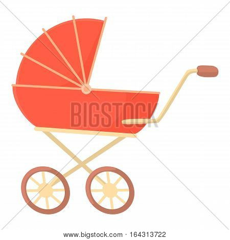 Red baby stroller icon. Cartoon illustration of red baby stroller vector icon for web