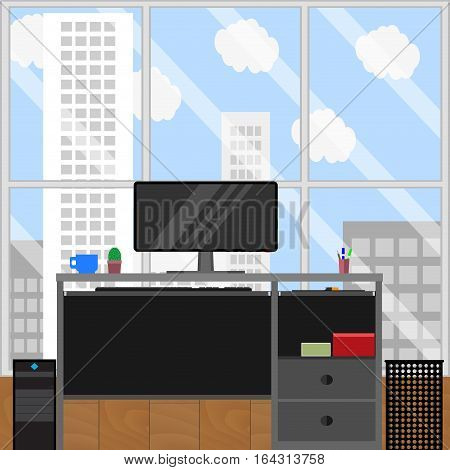 Computer station and urban landscape from window. Office workplace business office interior. Vector illustration