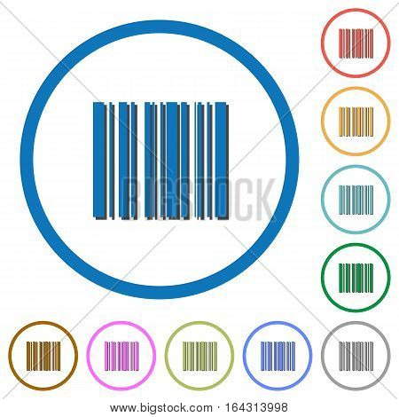 Barcode flat color vector icons with shadows in round outlines on white background