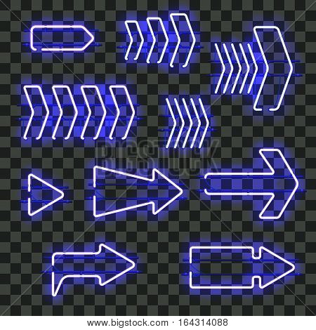 Set of glowing blue neon arrows isolated on transparent background. Shining and glowing neon effect. Every arrow is separate unit with wires, tubes, brackets and holders. Vector illustration.