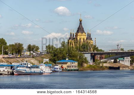 Nizhny Novgorod. View of the Strelka and the Alexander Nevsky Cathedral from the Oka River