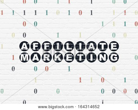 Finance concept: Painted black text Affiliate Marketing on White Brick wall background with Binary Code