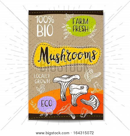 Colorful label in sketch style, food, spices, cardboard textured background. Mushrooms. Vegetables. Bio, eco, farm, fresh. locally grown. Hand drawn vector illustration.
