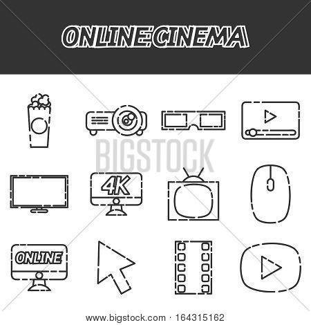 Hand drawn Online cinema flat icons set, excellent vector illustration, EPS 10