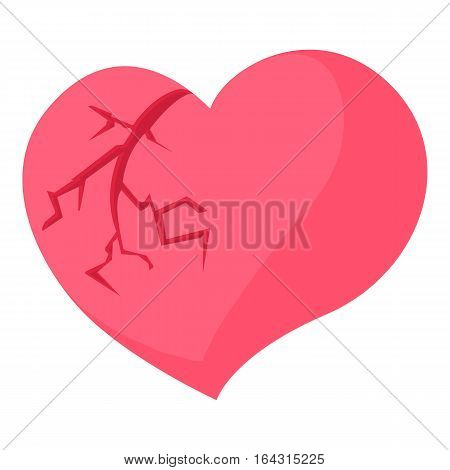 Broken heart icon. Cartoon illustration of broken heart vector icon for web
