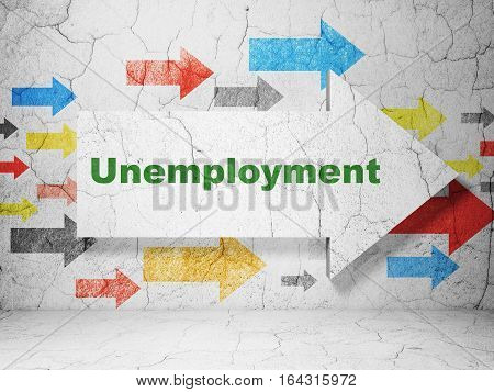 Business concept:  arrow with Unemployment on grunge textured concrete wall background, 3D rendering