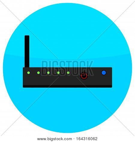 Icon router flat. Network router icon server switch vector wireless router ethernet illustration