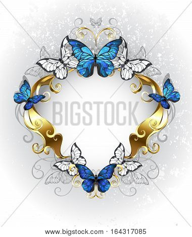 Jewelry gold patterned banner with blue and white butterflies morpho on a light textural background. Morpho. Design with blue butterflies morpho.