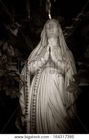 Religious Madonna figure statue close up view