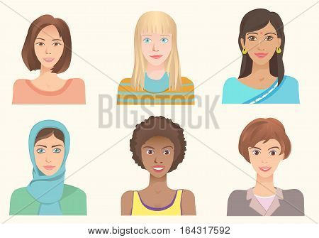Young women of various nationalities. Girls of different ethnic and races. Various skin color eyes and hairstyle. International portraits. Set of vector avatars.