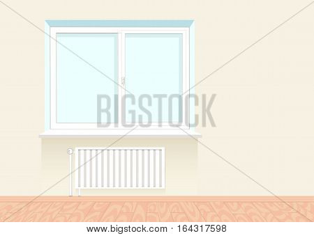 Realistic boring window with a radiator under it. Wooden floor. Vector illustration.