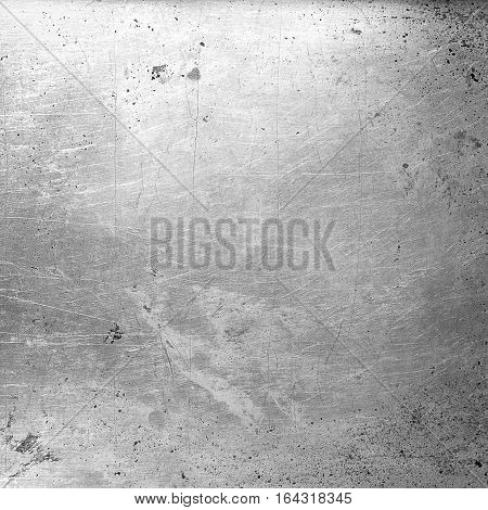 Grunge Aged Grey metal Texture. Old Stainless Steel Background with Scratch. Monochrome Dirty Metallic Surface Close up. Square Image Copy Space. Top view